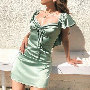 Windsor sage satin mini dress